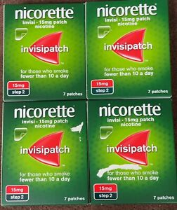 Nicorette InvisiPatch Step 2 15mg- 7 Nicotine Patches (Bundle of 4)