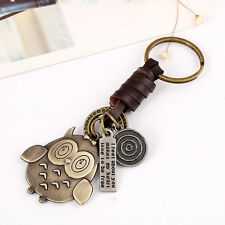 1Pc Vintage Owl Weave Leather Keychain Keyring Key Ring Chain Bag Keyfob Pendant
