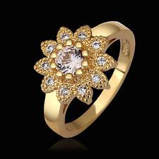 Ring Size 8 B107 18K Gold Zirconia Flower Band