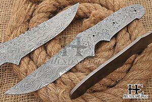 HUNTEX Custom Hand-Forged Damascus Steel 230 mm Long Full-Tang Blank Blade Knife