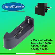 Caricabatterie singolo per batterie 18650, 14500, 16340, 10440, and 26650