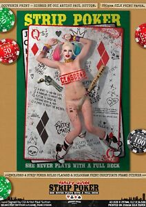 Harley Quinn SEXY Suicide Squad Margot Robbie Strip Poker A3 Signed Comic Print