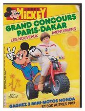 JOURNAL DE MICKEY 1699  BE+  CONCOURS PARIS DAKAR 1985
