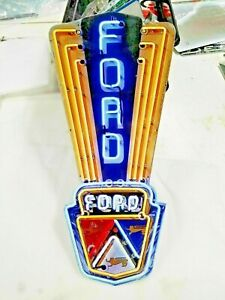 """Ford sign 16"""" x 8 Neon style sign in Steel metal Jubilee Mustang Truck Garage +"""