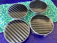 Set (4) Audi Carbon Fiber/ Sil Alloy Wheel Center Caps 🇺🇸 Fits 60mm Audi