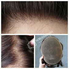 Undetectable Hairline Full Swiss Lace Toupee Mens Hair Replacement Hairpiece #1B