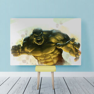 Green Hulk Super Hero Watercolour Childrens Framed Canvas Bedroom Picture