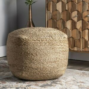Natural Jute Pouf Cover Round 14x18x18 Inch Home Decor Pouf Ottoman Footstool