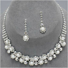 STUNNING WHITE PEARL & CRYSTAL BRIDE WEDDING FORMAL JEWELRY SET CHIC & TRENDY