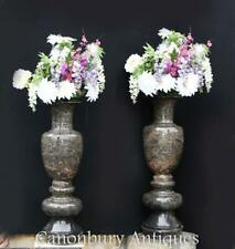 More details for pair tall italian marble garden vases classical amphora urn
