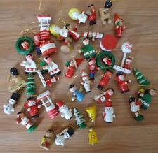 Wooden Christmas Tree Ornaments lot of 40+ Santa, soldier, bells, angels & more