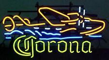 "Corona Seaplane Neon Lamp Sign 17""x14"" Bar Beer Light Garage Cave Glass Artwork"