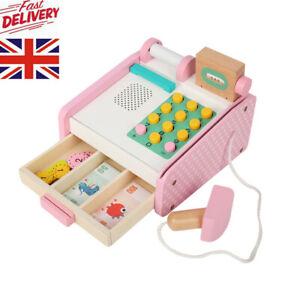Wooden Cash Register Children Shopping Shop Grocery Checkout Till Toy Girls Gift