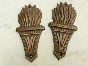 Antique french pair Cast Iron Cartouche Architectural  Door Pediment
