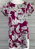 New Alfani Womens Pink White Floral Blouse Top Size Medium Cap Sleeve NWT B0613