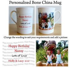 Personalised Bone China Mug, Any Message & Picture, Personalised China Photo Mug
