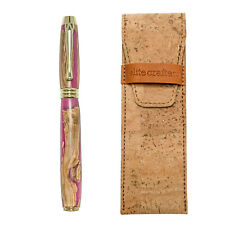 """Fountain Pen, Handmade of Olive Wood & Pink Color Epoxy Resin, """"Lexis"""" Design"""
