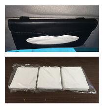Car Auto Tissue Holder Clip Black Leather Wallet & 3 Packs Paper Refills