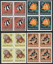 Australia 1966 Marine Life set of 4 Blocks of 4 Mint Unhinged