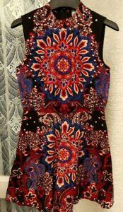 ( Ref 6349 ) Asos - Size 8 - Black / Multi Sleeveless Studded Skater Dress