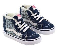 New TODDLER Vans SK8-Hi Zip Leopard Denim Fleece Blue Kids Sneaker Skateboard