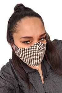 Dogtooth Brown Cream Smart High Quality Face Covering Face Mask UK Made