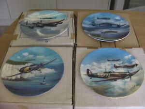 4 X COALPORT LTD EDITION WWII PLANE FINE CHINA PLATES, Boxed,Certificates, MINT