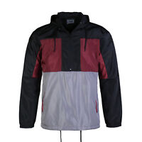 Men's Pullover Half Zip Hood Drawstring Grey Red Windbreaker Sports Jacket