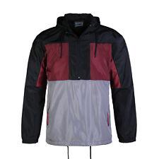Men's Pullover Half Zip Hood Drawstring Grey Red Windbreaker Sports Jacket