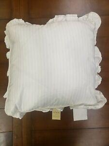 "NWT Lenox Bedding French Perle 16""x16"" White Sky Blue Throw Pillow Ruffled"