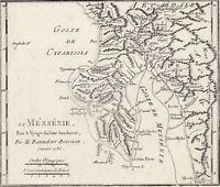 Gravure XVIIIe Messénie Messenia Carte Map Grèce Greece 1786 Μεσσηνία