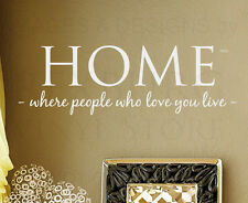 Wall Quote Decal Vinyl Sticker Art Large Home Where People Who Love You Live H07
