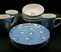 Gibson Max es Lucy Brrrr Snowman Winter Dinnerware Cups Plates Bowls Blue White