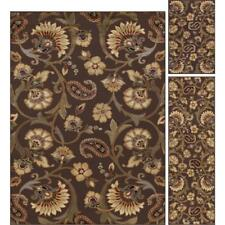Throw Rugs Floral Brown 3 Piece Set Living Room Area Floor Mat Runner Scatter
