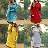 Hoodie Long Sleeve Tops Sweatshirt Dress Sweater Jumper Hooded Women Pullover