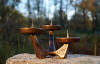 schwerer Kerzenhalter 3 flmg. Leuchter 16 x 9 cm Kerzenständer Bronze 1020 g