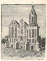 A6377 Konigsberg - Cattedrale - Stampa Antica del 1928 - Incisione