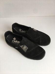 Rieker Black Suede Antistress Comfort Ladies Shoes Size 36 UK 3 Unworn CS