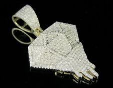 "Men's 10K Yellow Gold Real Diamond Custom Melting Diamond Pendant 2/3 CT 1.5"""