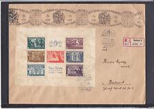 RRR Block Szent Istvan auf Reco Brief mit Besonderem Stempel gel. 1938