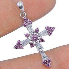 SALE! Cross- Pink Sapphire & White Topaz 925 Sterling Silver Pendant Jewelry, V4
