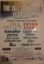 ISLE OF WIGHT FESTIVAL 2003 A3 ADVERTISING POSTER BRAN ADAMS PAUL WELLER
