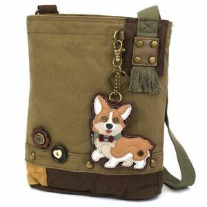 New Chala Patch Crossbody Messenger Olive Green Bag Canvas gift CORGI Dog