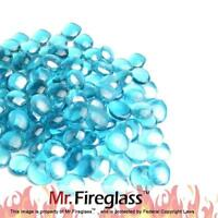 "Caribbean Blue 1/2"" Reflective Fire Glass Drops Fireplace Fire Pit, 10 lb"
