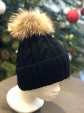 Black Cable hand-knitted Cashmere Hat With Real Fur Pom Pom