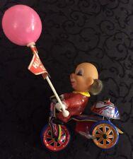 Vintage Clown on Bike Wind Up Toy Plastic, Metal Bicycle Tricycle - Works