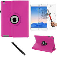 Pink 360 PU Leather Case Cover Folio Folding Smart Stand For Apple iPad 2/3/4