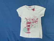 Girls 3-4 Years - White T-Shirt with Pink Milkshake Motif - 'Shake It Up!'