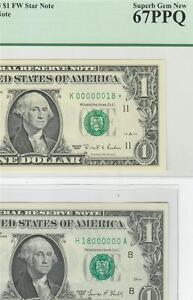 MIRROR PAIR PCGS67PPQ SN#18 $1 1995 & $1 STLU 1969D FRN