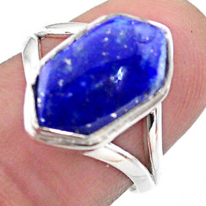 5.38cts Hexagon Natural Blue Lapis Lazuli Silver Solitaire Ring Size 7 T48578